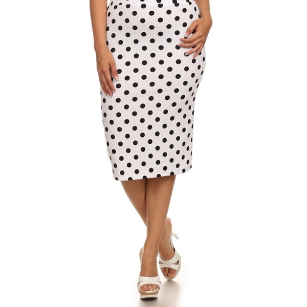 MOA Collection Women's Polka Dot Print Midi Skirt