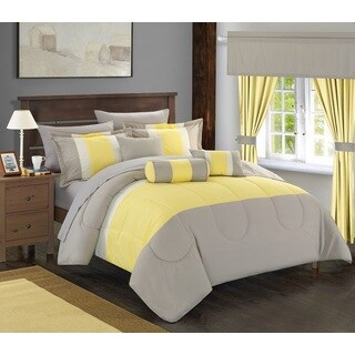 Chic Home 20-piece Whitehall Complete Bed-in-a-Bag Yellow Comforter Set with Window Treatment
