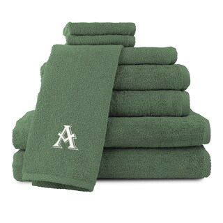 Caldridge 100-percent Turkish Cotton Embroidered 8-piece Towel set - Dark Green