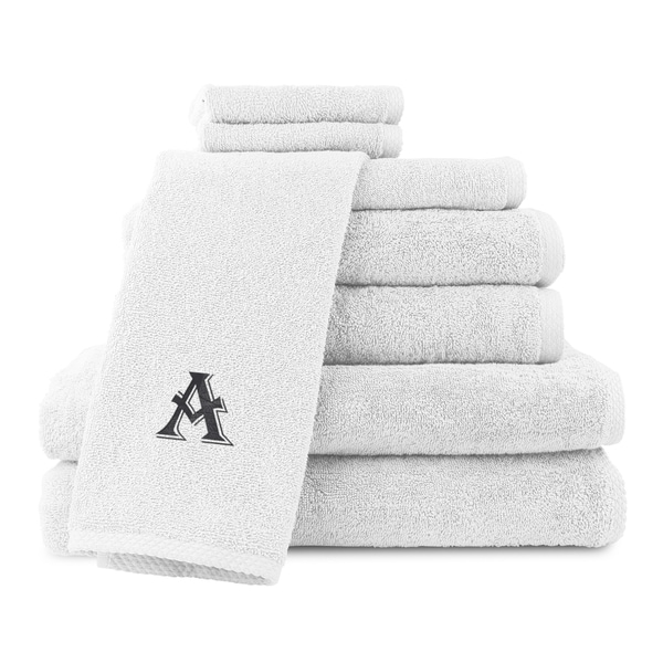 Caldridge 100-percent Turkish Cotton Embroidered 8-piece Towel Set - White