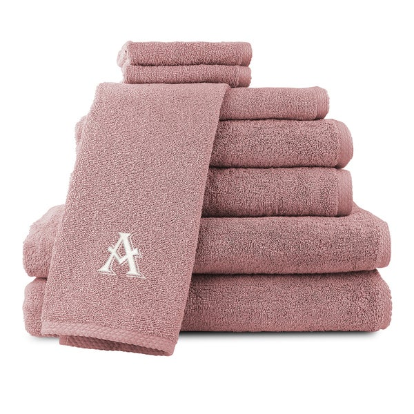 Caldridge 100-percent Turkish Cotton Embroidered 8-piece Towel Set - Dusty Rose