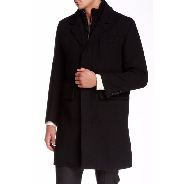 Cole Haan Men's Black Twill Wool Blend Coat