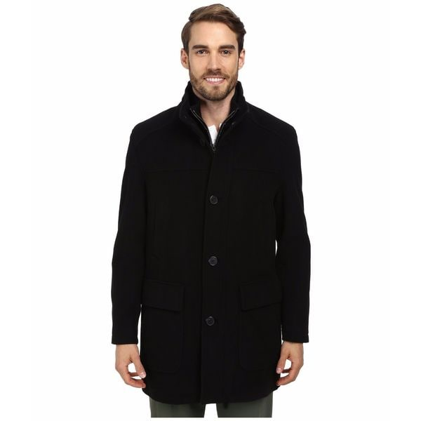 Cole Haan Men's Black Wool Cashmere 3/4-Length Coat