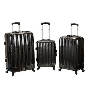 Rockland Black Fiber 3-piece Hardside Spinner Upright Luggage Set