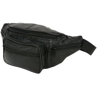 Small Size Leather Waist Hip Lumbar Fanny Pack With Multiple Pockets and Smartphone Size Compartments