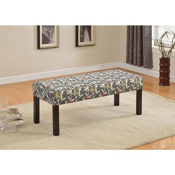 Alma Flower Pattern Fabric Upholstered Decorative Bench