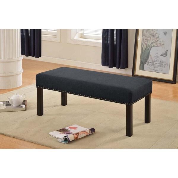 Alma Dark Grey Nail Trim Fabric Upholstered Decorative Bench
