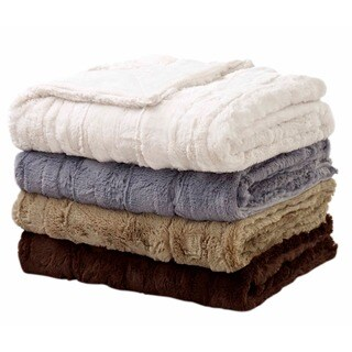Luxe Embossed Faux Fur Throw Faux Mink