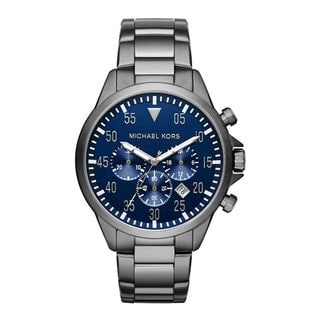 Michael Kors Men's MK8443 Gage Chronograph Blue Dial Gunmetal Stainless Steel Bracelet Watch