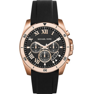 Michael Kors Men's MK8436 Brecken Chronograph Black Dial Black Silicone Watch