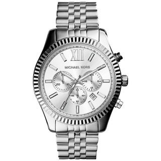 Michael Kors Men's MK8405 Lexington Chronograph Silver-Tone Dial Silver-Tone Stainless Steel Bracelet Watch