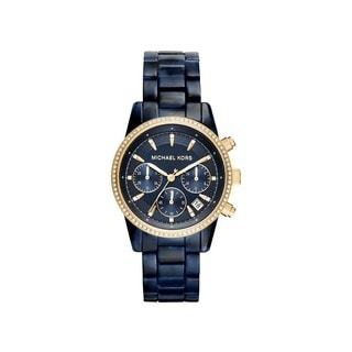 Michael Kors Women's MK6278 Ritz Diamond Chronograph Blue Dial Acetate Bracelet Watch