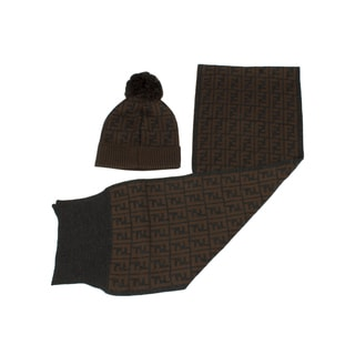 Fendi Hat(with Pom-Pom) and Scarf Set in Brown