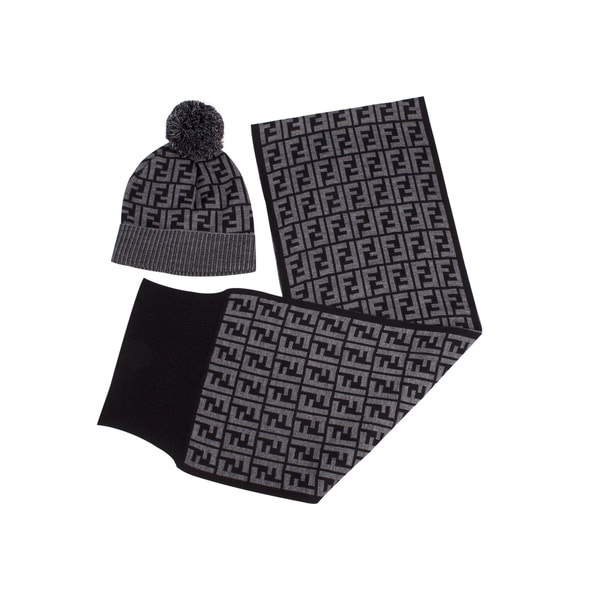 Fendi Hat (with Pom-Pom) and Scarf Set in Grey