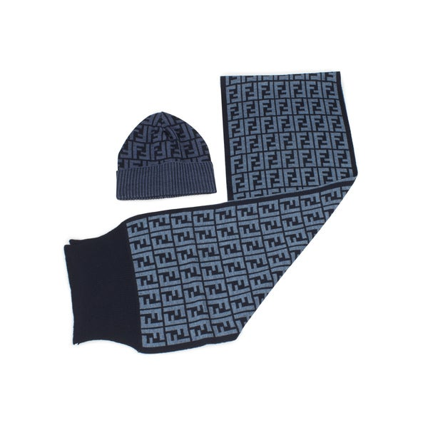 Fendi Hat and Scarf Set in Blue