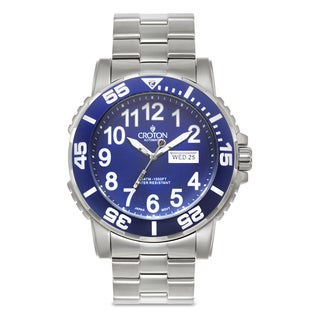 Croton Men's CA301281SSBL Stainless Steel Silvertone Luminous Hands Watch