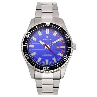 Croton Men's CA301289SSBL Stainless Steel Silvertone Luminous Hands Watch