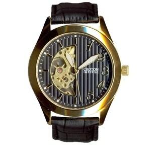 Croton Men's CI331081YLBK Stainless Steel Silvertone Skeleton Automatic Watch