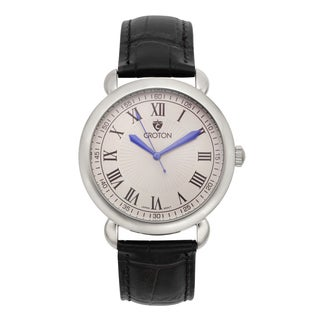 Croton Men's CN307532BSSL Stainless Steel Silvertone Leather Strap Watch