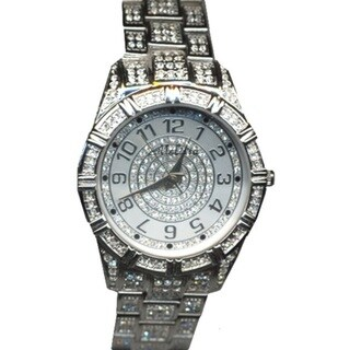 Croton Large Silvertone Crystal Quartz Watch with Faceted Crystal over a Silvertone and Crystal Dial