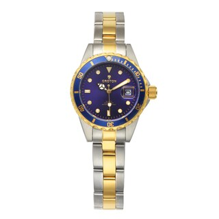 Croton Women's CA201103TTBL Stainless Steel Two-tone Magnified date Watch