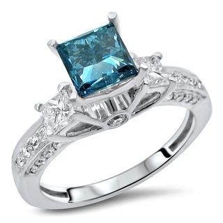 Noori Certified 14k White Gold 1 3/4ct TDW Blue 3-stone Diamond Ring (SI1-SI2)
