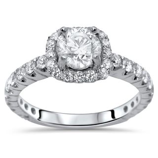 Noori 18k Gold 1 1/6ct TDW Clarity-enhanced Halo Round Diamond Engagement Ring (G-H, SI1-SI2)