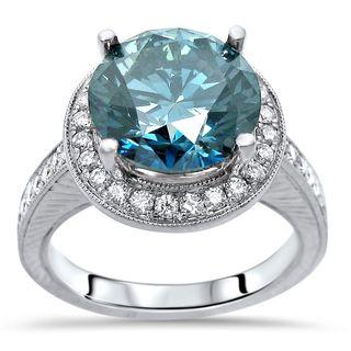 Noori 14k White Gold 4 1/2ct TDW Certified Blue Round Diamond Halo Engagement Ring (G-H, SI1-SI2)