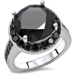 Noori 14k White Gold 5 1/5ct TDW Certified Black Round Diamond Halo Engagement Ring