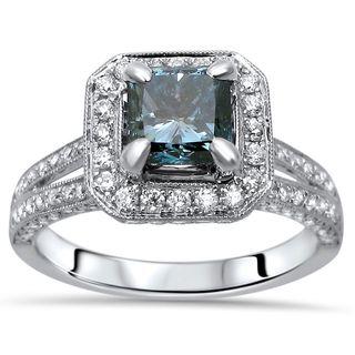 Noori 18k Gold 1 4/5ct TDW Blue Princess-cut Diamond Engagement Ring (SI1-SI2)