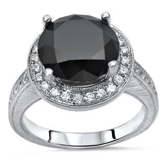 Noori 14k White Gold 3 1/2ct TDW Certified Black Round Diamond Halo Engagement Ring (G-H, SI1-SI2)