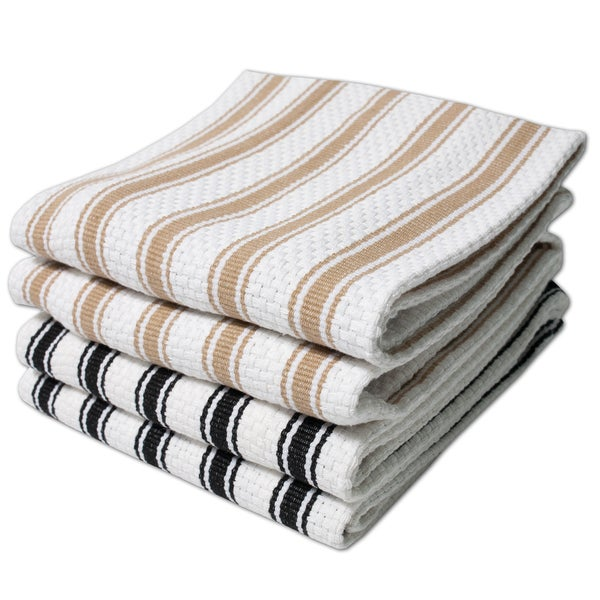 100% Cotton Five Stripe Woven Kitchen Towels (Set of 2)