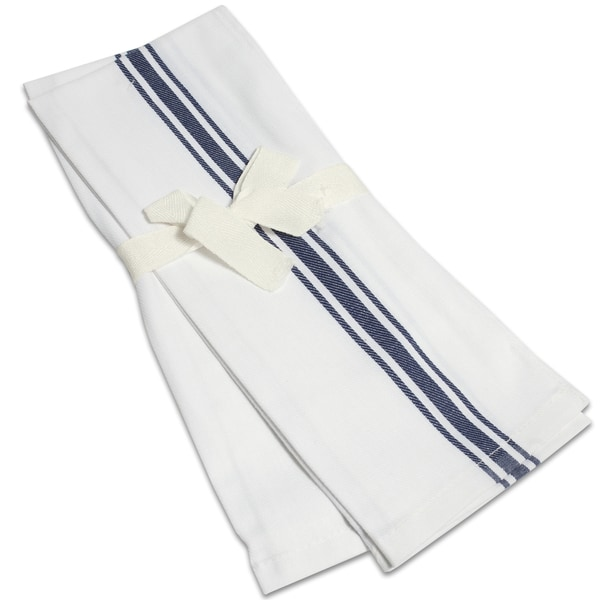 100% Cotton Blue Striped Herringbone Kitchen Towels (Set of 2)