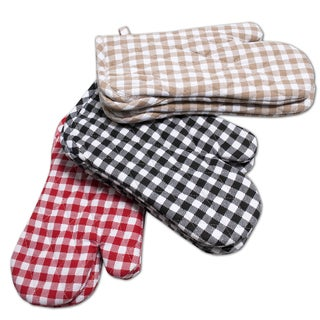 Cotton Quilted Gingham Oven Mitts with Terry Cloth Lining (Set of 2)