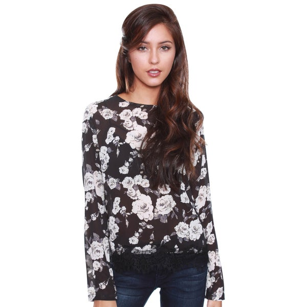 Beston Junior's Floral Sheer Black Blouse