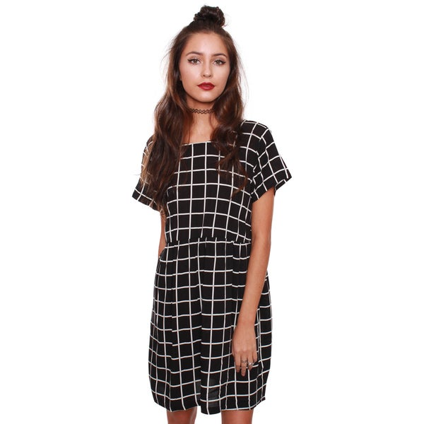 Beston Junior's Baby Doll Windowpane Black Dress 1124474
