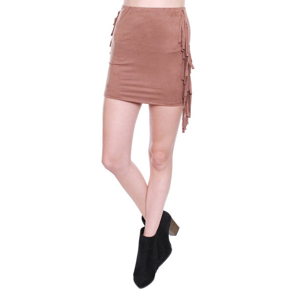 Beston Junior's Fringe Tan Suede Mini Skirt