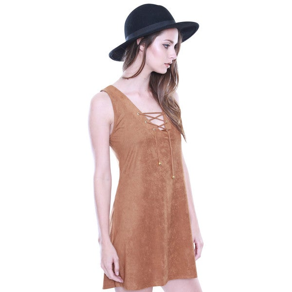 Beston Junior's Boho Suede Lace up Tie Tan Dress