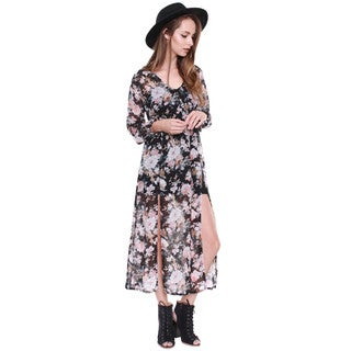 Beston Junior's Floral Sheer Flowy Maxi Dress