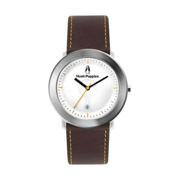 Hush Puppies Men's White Dial Brown Genuine Leather Watch HP.3661M.2501