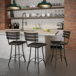 Amisco Dock Swivel Metal and Wood Counter Stool