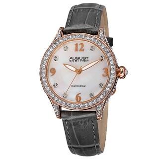 August Steiner Women's Quartz Swarovski Crystals & Diamond Leather Grey Strap Watch