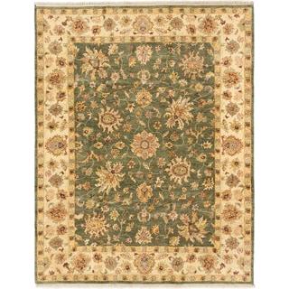 ecarpetgallery Chobi Twisted Beige/ Green Wool Rug (7' x 9')