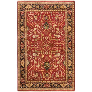 ecarpetgallery Serapi Heritage Black/ Red Wool Rug (5' x 9')