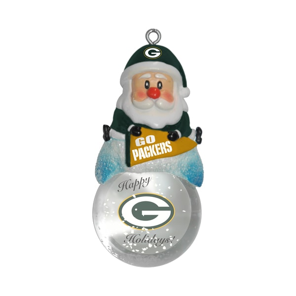 Green Bay Packers Santa Snow Globe Ornament