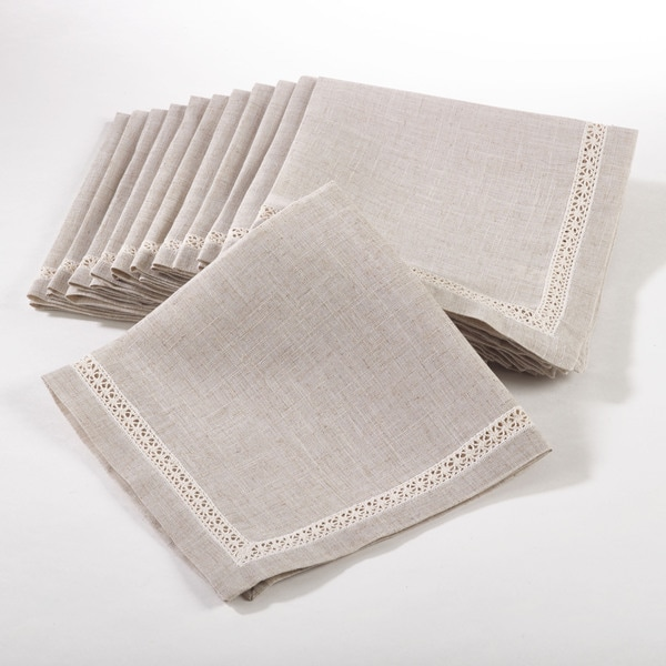 Dinner Napkin with Lace Insert (Set of 12)