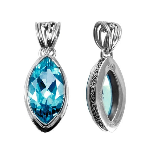 Handmade .925 Sterling Silver Faceted Marquise Blue Topaz Pendant (Indonesia)