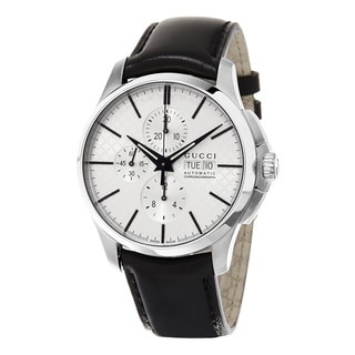 Gucci Men's YA126265 'Timeless' Silver Dial Black Leather Strap Chronograph Swiss Automatic Watch