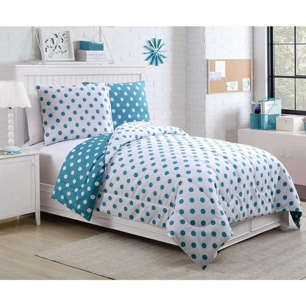 Dotty Reversible Aqua Comforter Set