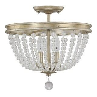 Austin Allen & Company Handley Collection 3-light Iced Gold Semi Flush Mount